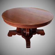 Antique Inlaid Banded Mahogany RJ Horner Round Dining table Table w/ 2 Leaves c1880