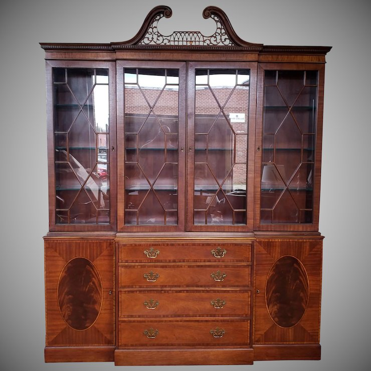 Large Banded U0026 Inlaid Mahogany Baker Furniture Dining Room Breakfront China  Cabinet C1990s