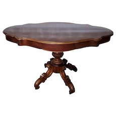 Antique French Empire Period Mahogany 19th Century Turtle Top Center Table c1860