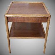 Mid Century T.H. Robsjohn Gibbings 2 Tier Single Drawer End Lamp Table c1950