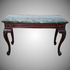 Carved Mahogany Chippendale Style Marble Top Entrance Way Console Table