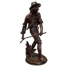"""Eugene Antoine Aizelin (1821-1902 France) Bronze Sculpture """"La Faucheur"""""""