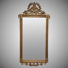 Antique 19th Century French Gilt Hanging Wall Mirror c1860