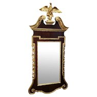 Antique Late 19th Century Federal Style Gold Leaf & Mahogany Eagle Topped Hanging Wall Mirror