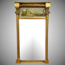 Antique Federal 19th Century Giltwood Eglomise Reverse Painted Gold Leaf Hanging Wall Mirror