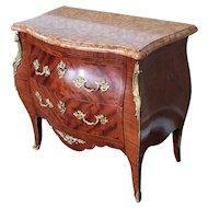 Antique French Louis XV Style Bombe Marble Top Ormolu Mounted Walnut Commode Chest c1880