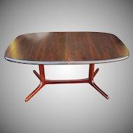 Vintage 1970s Rosewood Dyrlund Danish Modern Trestle Dining Table w/ 2 Leaves