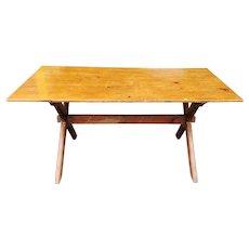 Antique Primitive American Pine Trestle X Leg Farm Tavern Table c1910