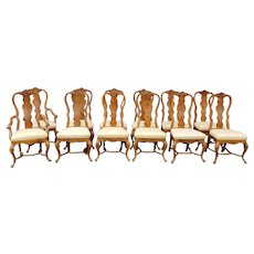 Set 12 Drexel Heritage 1980s Sketchbook Collection Queen Anne Style Burled Elm Country Dining Room Chairs 173-817