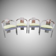 Set 4 1970s Acrylic Lucite Dining Room Armchairs Attributed Charles Hollis Jones