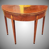 American Federal Inlaid & Figured Mahogany Demilune Games Table Rhode Island or Connecticut c1795