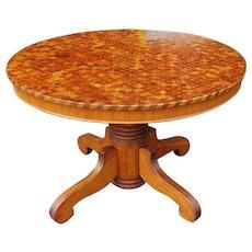 Unusual Antique 19th Century Wood Chip Parquet Inlaid Top Round Dining Room Table