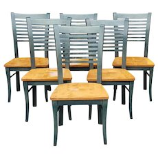 Set of 6 Green Painted Canadian Hardwood Kitchen ~ Dining Room Chairs