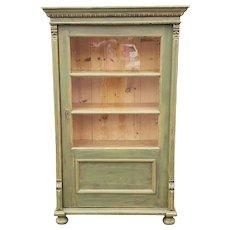 20th Century Primitive Rustic Pine Green Painted Glass Door Cabinet