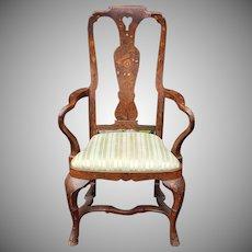 Antique Inlaid Walnut Dutch Marquetry Queen Anne Style Armchair c1890