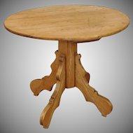 Antique French Rustic & Primitive Pine Round Pedestal Pub Table c1890