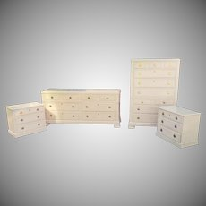 Drexel Heritage Status Collection 5 pc 1980s White Washed Maple Bedroom Set