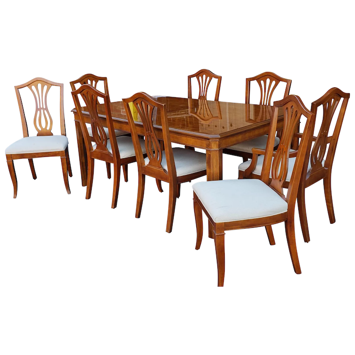1990s Drexel Heritage Yorkshire Collection Yew Wood Parsons Dining Table w/  8 Sheraton Chairs