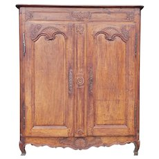 Antique 18th Century Carved Walnut Small Scale French Louis Style Double Door Armoire