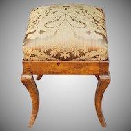 Antique 19th Century Biedermeier Style Upholstered Footstool c1820