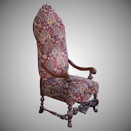 Antique Renaissance Revival Carved mahogany Tall Back Hallway Armchair c1900
