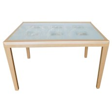 Contemporary Modern Blonde Wood Sliding Glass Top Dining Kitchen Table c1990s