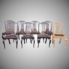 Set 8 Antique Mahogany Sheraton Style Dining Chairs ~ AS is WHERE is ~ Ready For Paint Or Refinish