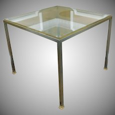 Nice Chrome w/ Brass Trim Glass Top Square Cocktail Occasional Table 30 X 30 c1960s