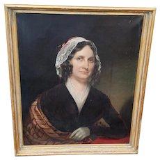 Cephas Giovanni Thompson (American 1809-1888) 19th Century Oil On Canvas Portrait Of A Lady