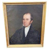 Attr. Cephas Giovanni Thompson (American 1809-1888) 19th Century Oil On Canvas Portrait Of Man