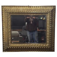 Antique 19th Century Dutch Repousse Brass Beveled Glass Hanging Wall Mirror