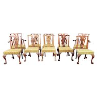 Set 10 Quality Mahogany Chippendale Style Dining Room Chairs 1950s