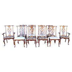 Set 10 1990s Thomasville Chippendale Style Dining Room Chairs #20261-871-872