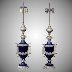 Pair 1920s Cobalt Blue Porcelain Sevres Style Neoclassical Table Lidded Urn Lamps