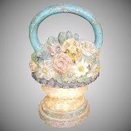 Antique Victorian Cast Iron Handled Basket ~ Urn Floral Doorstop
