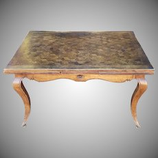 1940s French Country Oak Parquet Top Draw Leaf Dining Room Table