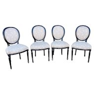 Set 4 French Louis Style Painted Black Dining Room Chairs c1950s