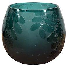 Vintage Signed Ken Benson Art Studio Green Cameo Glass Bowl