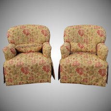 Pair Thomasville Furniture Upholstered Living Room Club Armchairs