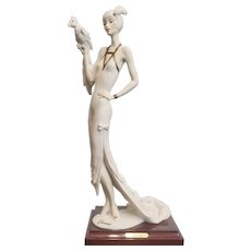 Giuseppe Armani Porcelain Art Deco Style Figurine Lady With Parrot #0393F 1987