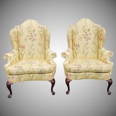 Pair Of Very Fine Southwood Furniture Mahogany Queen Anne Wingback Armchairs