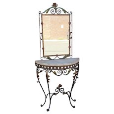 1940s Painted Wrought Iron Scroll Form Console Table w/ Mirror
