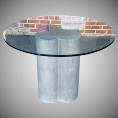 "Contemporary 1970s Aluminum Pedestal Base 48"" Diameter Round Glass Top Kitchen Table"