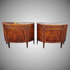 Pair 20th Century Baker Furniture Inlaid & Banded Mahogany Demilune Commode Cabinets