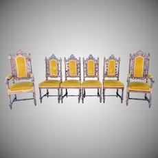 Set 6 Antique European Renaissance Revival Carved Walnut Barley Twist  Jacobean Style Dining Chairs c1880
