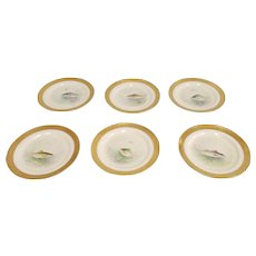 Set 6 W.H. Morley Hand Painted Ovingtons ~ Lenox Gold Encrusted Fish Plates c1930s