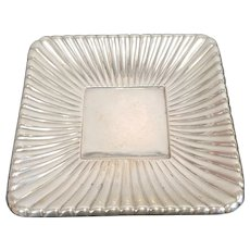 "Sterling Silver Reed & Barton Trajan Pattern Holloware Gadrooned 8 3/4"" Square Plate Disc 1960s 12.41 Troy Oz"