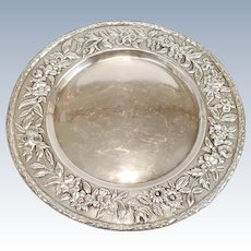 """Antique Sterling Silver Repousse 11"""" Round Tray ~ 22.78 Troy Oz"""