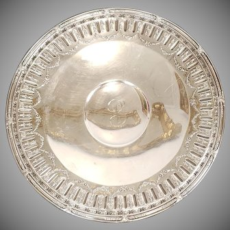 """Sterling Silver Gorham Marie Antoinette Pattern 11"""" Footed Round Centerpiece Tray 17.40 Toz 1950s"""
