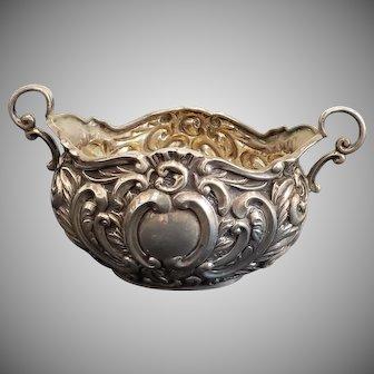 Antique 19th Century Edwardian Birmingham Sterling Silver H. Mathews Miniature Repousse Centerpiece Bowl